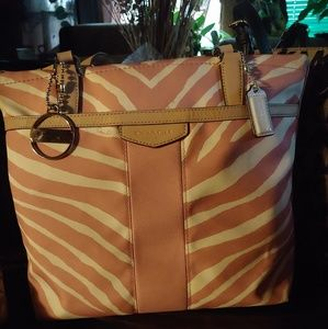 Pink and white Bemgal Coach purse *DIY